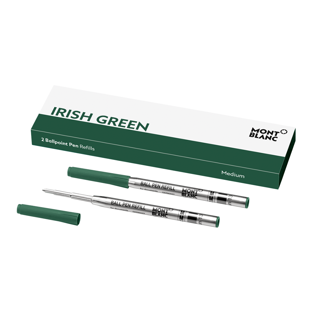 2 Ballpoint Pen Refills (M) Irish Green