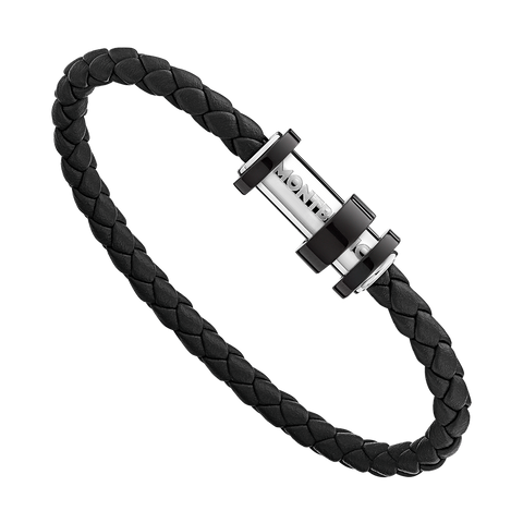 Bracelet in woven black leather with steel closing, black PVD finish and three rings
