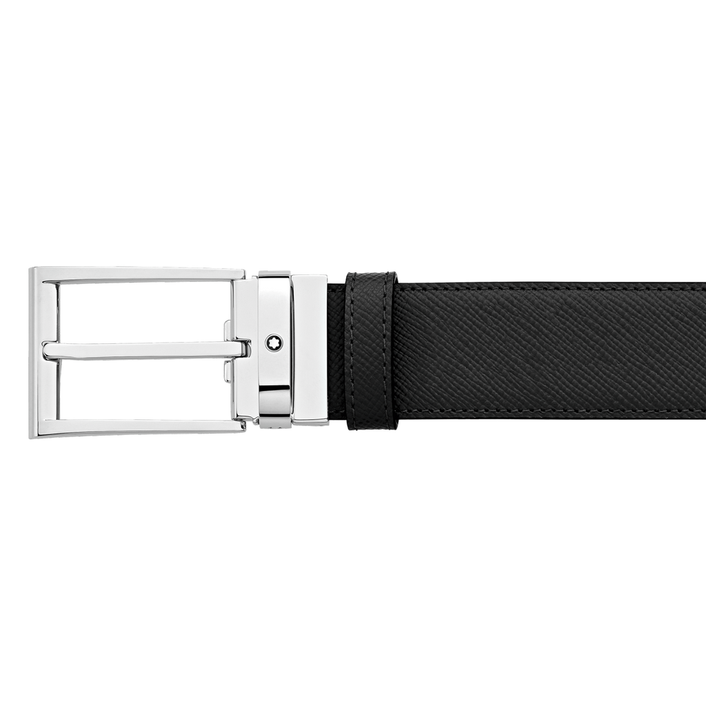 Black/dark brown reversible cut-to-size business belt