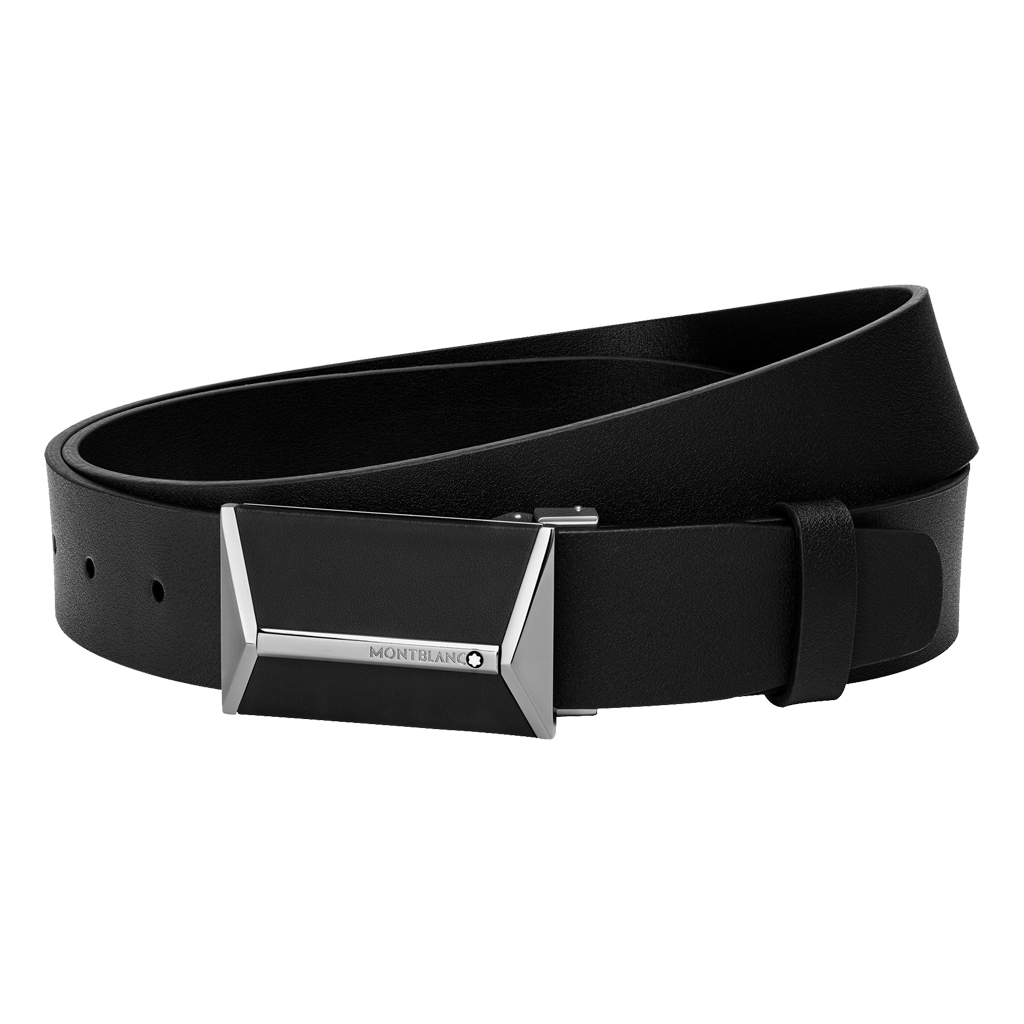 Shiny Stainless Steel Black PVD and Black Leather Pyramid Plate Buckle Belt