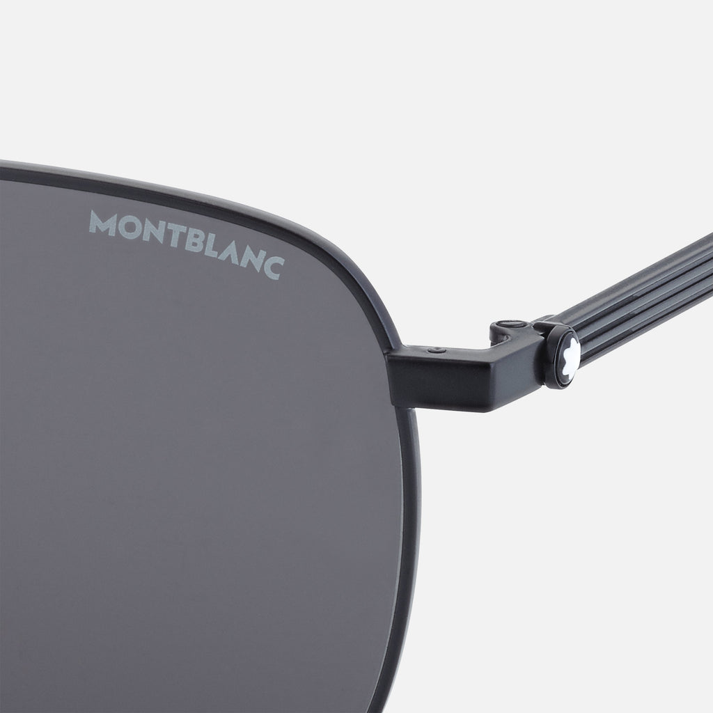 Rectangular Black Metal Frame Sunglasses