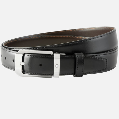 Black/brown reversible cut-to-size business belt