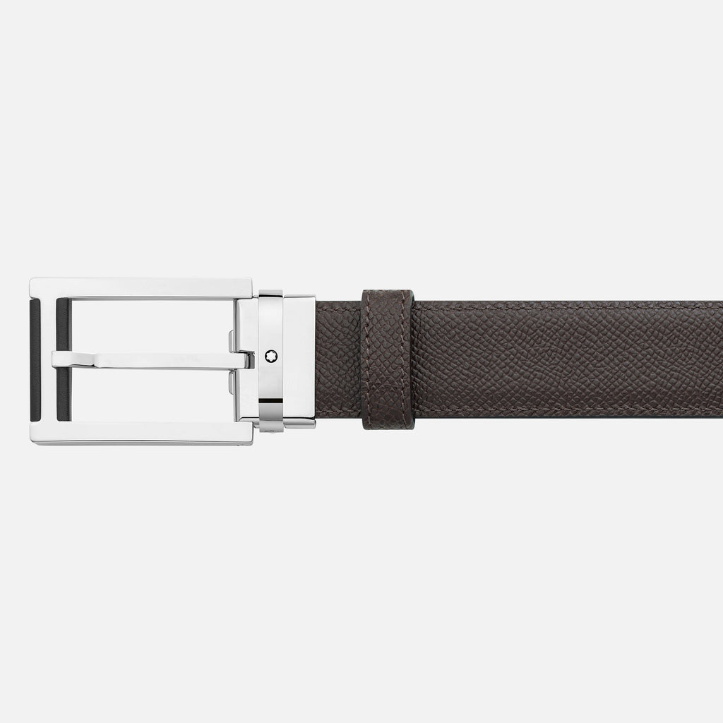 Rectangular Stainless Steel & Black Leather Pin Buckle Belt