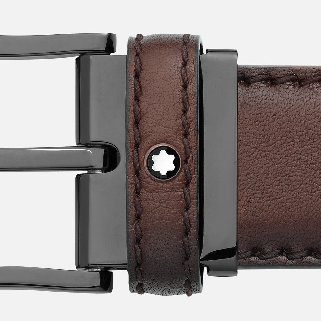 Rounded Matte Stainless Steel Black PVD Pin Buckle Belt