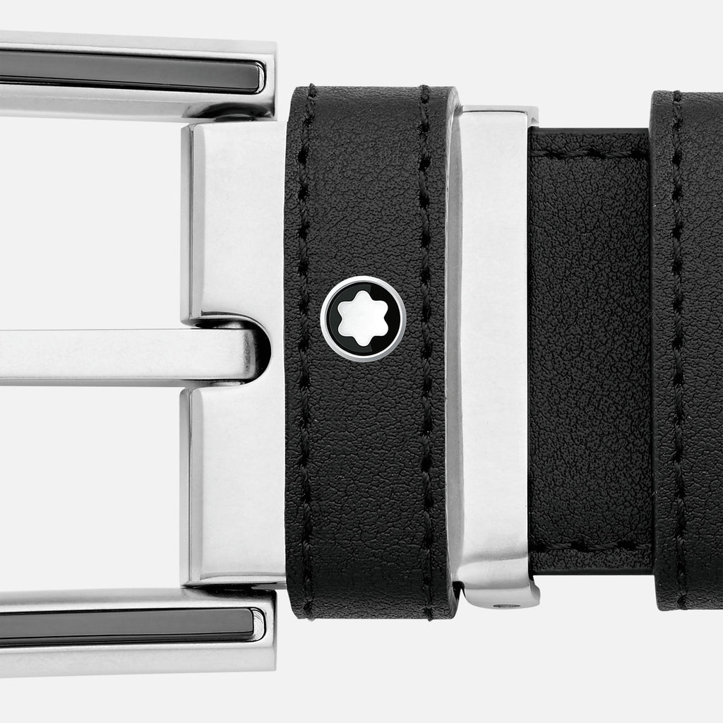 Horseshoe Shiny and Matte Stainless Steel and Black PVD Pin Buckle Belt
