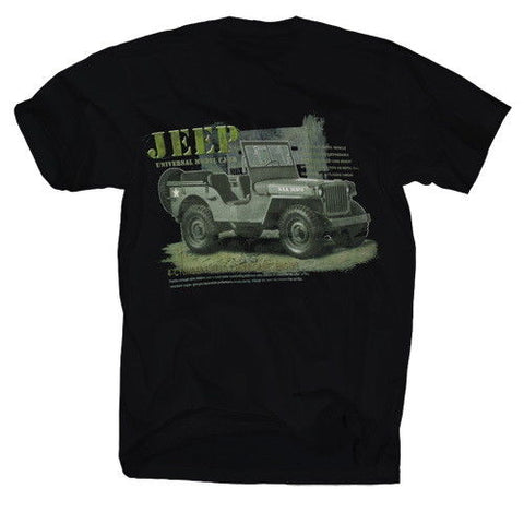 Printed Black T-Shirt Willys Jeep - Military-Equipment-Shop