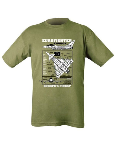 Printed Army Green T-Shirt Eurofighter Typhoon - Military-Equipment-Shop