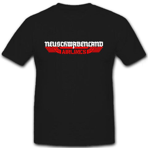 Printed Black T-Shirt Neuschwabenland Airlines - Military-Equipment-Shop