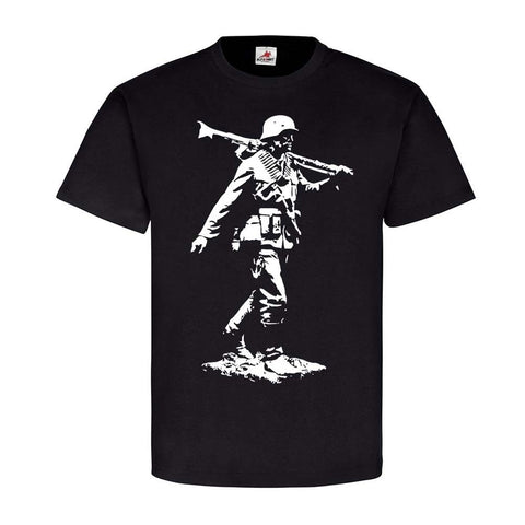 Printed Black T-Shirt German Soldier with MG34 - Military-Equipment-Shop