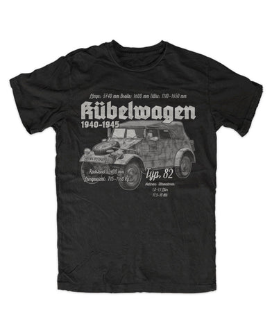 Printed Black T-Shirt Kübelwagen - Military-Equipment-Shop