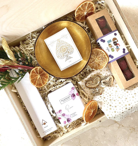Amala Curations Luxury Ethical Christmas Gift Hamper in Wooden Box