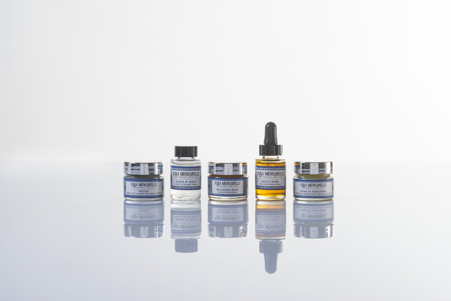 Casa Mencarelli organic skincare products on white surface