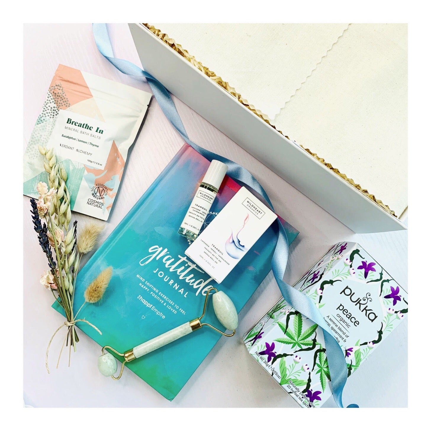 Serenity Deluxe Gift Box from Amala Curations, including Happi Empire Gratitude Journal