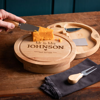 personalised cheese board and knife set luxury wedding gift