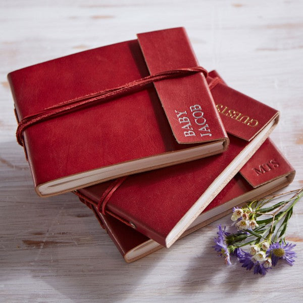 Red Leather Photo Album Fair Trade with initials