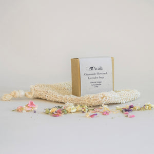 Acala Chamomile Flowers & Lavender Soap, Natural Vegan & Handmade. In Natural Kraft Packaging, with Sisal Soap Bag.