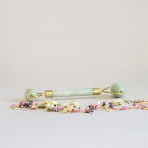 Acala Jade Facial Roller Green with Gold fixings