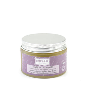 Organic Baby Botton Balm Lulu & Boo - container with silver lid and purple label