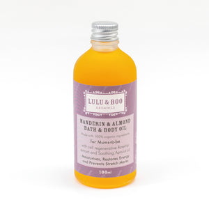 Lulu and Boo Organic Mandarin and Almond Bath & Body Oil for Mums to Be - Purple Label