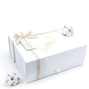 Amala Curations Luxury Ethical Gift Box/ Hamper;  white box with cream cotton ribbon, gift tag and seed paper card