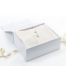 Load image into Gallery viewer, Amala Curations Luxury Ethical Gift Box/ Hamper; white box lined with cream fabric, closed with a nappy pin; with cotton ribbon underneath.