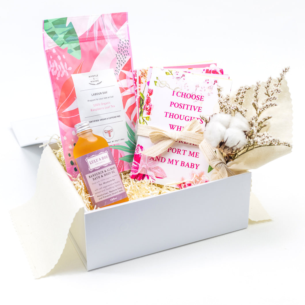 Amala Curations White Luxury Gift Box, lined with cream fabric, with Raspberry Leaf Tea, Lulu & Boo Relaxing Bath Oil, Set of 15 Affirmation Cards and Cream Cotton Flower Bouquet