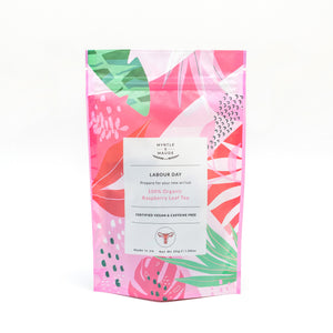 Myrtle & Maude Labour Day Organic Raspberry Leaf Tea Pink and Green Packet