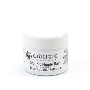 Odylique Organic Nipple Balm; white container with black writing