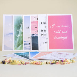 Amala Curation's Set of 12 Affirmation Cards, 3 x 5 inch cards with positive affirmations, multicoloured