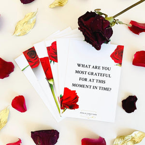 Amala Curations Couple's Conversation Cards White with Red Roses & Black Text