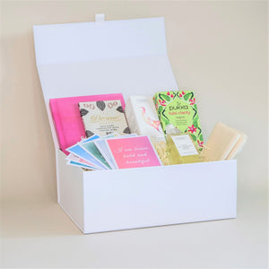 Amala Curation's Good Vibes Gift Box with Wildheart Organic's Happy Room Mist, Set of 12 Affirmation Cards, Pukka Tulsi Clarity Tea, Divine Organic Chocolate and Happi Empire Self Care Journal