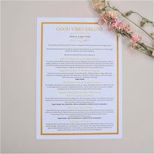 Load image into Gallery viewer, Good Vibes Deluxe Gift Box Menu Card