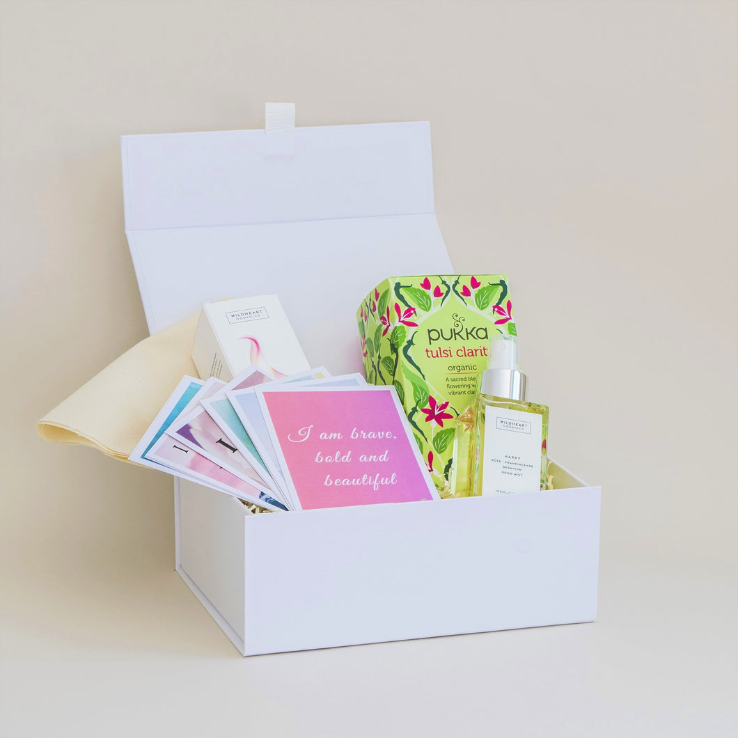 Amala Curation's Good Vibes White Gift Box with Wildheart Organic's Happy Room Mist, Set of 12 Affirmation Cards, Pukka Tulsi Clarity Tea