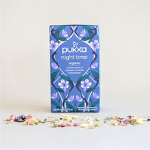 Load image into Gallery viewer, Blue Box of Pukka Night Time Organic Tea, with oatflowers, lavender and limeflower. 20 Tea Bags.