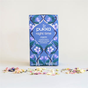 Blue Box of Pukka Night Time Organic Tea, with oatflowers, lavender and limeflower. 20 Tea Bags.