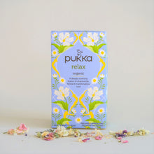Load image into Gallery viewer, Blue and Yellow Box of Pukka Relax Organic Tea with chamomile, fennel & marshmallow root, 20 tea bags