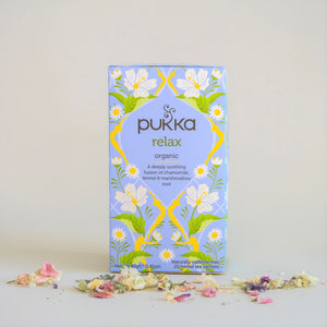 Blue and Yellow Box of Pukka Relax Organic Tea with chamomile, fennel & marshmallow root, 20 tea bags