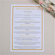 Load image into Gallery viewer, Relax & Pamper Deluxe Gift Box Menu Card