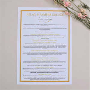 Relax & Pamper Deluxe Gift Box Menu Card