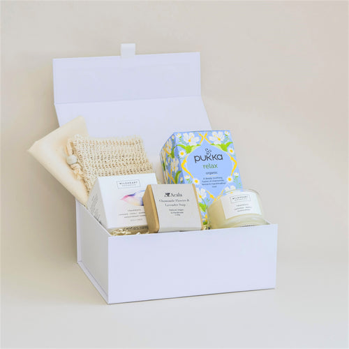 Amala Curation's Relax & Pamper White Gift Box with Acala Chamomile and Lavender Soap with Sisal Bag, Wildheart Organic Tranquil Travel Candle and Pukka Relax Tea