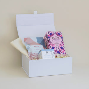 Amala Curation's Restore White Gift Box with Odylique Calendula Balm, Verdant Alchemy Natural Mineral Ascent Bath Salts, Pukka Elderberry and Echinacea Organic Tea 20 Tea Bags