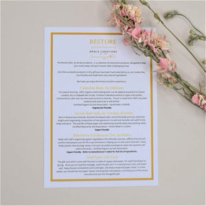 Restore Gift Box Menu Card