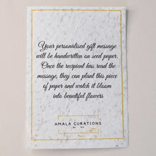 Load image into Gallery viewer, Piece of ivory coloured seed paper, with Amala Curation's logo and a note detailing that your personalised gift message will be written here