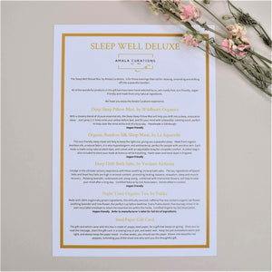 Sleep Well Deluxe Gift Box Menu Card