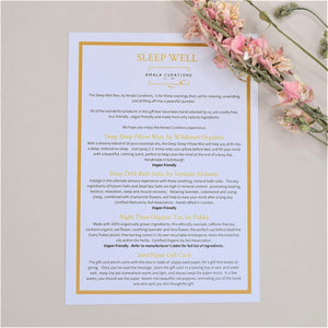 Sleep Well Gift Box Menu Card
