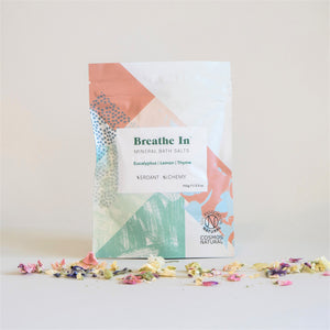Verdant Alchemy's Breathe In Mineral Bath Salts, in Pink and Blue Packaging, Soil Association Natural Certified