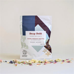Verdant Alchemy's Deep Drift Mineral Bath Salts, in White and Blue Packaging, Soil Association Natural Certified