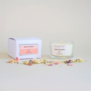 Wildheart Organic Restore Travel Aromatherapy Candle, in White Box with coral logo. With lime, basil and tangerine.