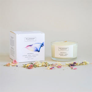 Wildheart Organic Tranquil Travel Aromatherapy Candle, in White Box with blue and pink graphic. With lavender, neroli and sandalwood.