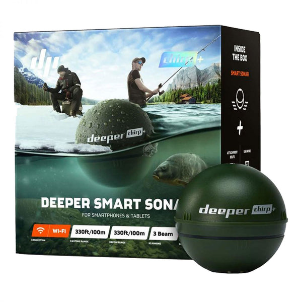 Deeper CHIRP+ - Smart Sonar med CHIRP, WIFI + GPS, til iOS & Android, Dybde max. 100m